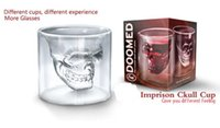 Wholesale doomed skull glass cup - Doomed Crystal Skull Head Double Wall Vodka Shot Glass Cup for Home Bar Birthday Party Beer Wine Whisky Drinking Glasses Cup 75ML
