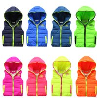 chaleco de bebé al por mayor-Alta calidad 2016 Nuevos niños de invierno abajo del chaleco de algodón bebé niños niñas encapuchados vestidos moda ocio abrigo 2-6 años 8 colores eligen