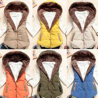 Wholesale Thickening Coral Fleece - 3XL 6-Colors Winter Women Vest Coat 2018 Winter Fashion Female Vest Coral Fleece Hooded Fur Thickened Cotton vest Size Female H50