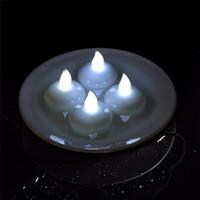 ingrosso candela principale bianca galleggiante-Impermeabile LED Floating Tea Light Lampadina senza fiamma Lampadina per il Festival Decorazione della festa nuziale Bianco Decorazioni per eventi Forniture