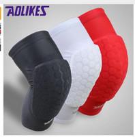 Wholesale Black Basketball Arm Sleeve - AOLIKES Pair Hex Honeycomb Sponge Basketball Arm Sleeves Anti-crash Compression Armband Sport Elbow Pads Coderas Protector