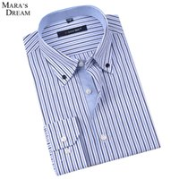 Wholesale Down Double Green - Wholesale-Mara's Dream Mens Long-sleeved Plaid Striped Dress Shirts Double-collar Regular Fit Classic Business Casual Work Shirt Men