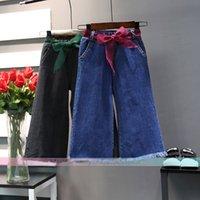 Wholesale Korean Jeans Belts - Korean Children Clothes New Girls Fashion Jeans Denim belt Kids Jeans Wide leg pants Toddler loose pants Girls Trouser Kids Clothing A1156
