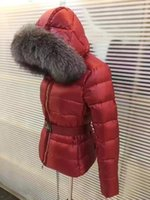 Wholesale Waist Belt Down Jacket Women - M Brand Large Raccoon Fur Collar Hooded Down Coat With Belt Waist Thick Duck Down Parkas Red Black Color WOMEN 2017 Counter down jacket