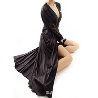 Wholesale Exclusive Girls Dresses - Wholesale-2016 New Arrival Exclusive Sexy Elegance Lace High-end Silky Long Night Robe Woman Night Dress Pajamas for Girl SW1045