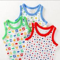 Wholesale Stretch Pajamas - Thin style Japanese knit vest, boy baby, children's bedding, pajamas, summer cotton stretch, cotton ventilation XS18