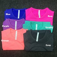 Wholesale workout shirts for women - Women Quick Dry Sweat Releasing Short Sleeve Pure Color air-breathing fitness T-shirts for sport Yoga Exercise Running Cycling and Workout