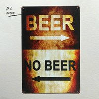 Wholesale folk art shop - DL-beer or no beer tin sign iron painting Art poster Garage Shop cafe bar home wall decor