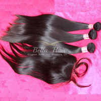 Wholesale malaysian straight silk base closures resale online - Human Hair Malaysian Silk Base Closure x4 With Human Hair Bundles Extensions Silky Straight Natural Color PC