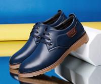 Wholesale Men S Business Leather Shoes - Fashion new Men 's business casual shoes men' s shoes leather shoes blue Dress Shoes -c
