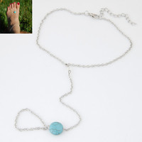 Wholesale Cheap Stone Accessories - Trendy Fashion Summer Beach Jewelry Accessories Simple Cheap Silver Metal Chain Stone Anklets For Women Wholesale