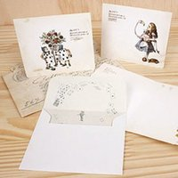 Wholesale Postcard Alice - Wholesale-1pcs lot 110*93mm New vintage style Alice&OZ story postcard with envelop and stamp sticker   greeting card