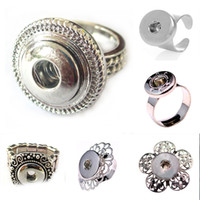 Wholesale tin gift cans - 5 Styles can be choices NOOSA Snap Charms Adjustable Ring Interchangeable Jewelry Metal Snap Button Jewelry