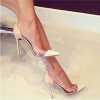 Wholesale See Through Wedding Dress Designer - New Sexy Brand Designer Fashion See-Through Pointed Toe Shoes Women Thin Heels Pumps Summer Style Sandals 2016 High Heels Shoes