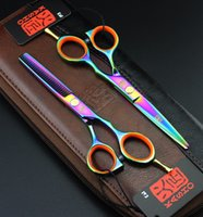 Wholesale Hair Thinner Scissors Hot - Wholesale-2 Scissors+Bag Kasho Hot 5.5 6 Inch Hairdressing Scissors Hair Professional Cutting Thinning Barber Shears Sets Hairdresser Tool