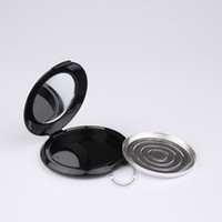 Wholesale Mirror Trays - 50 x 10g Black Plastic Powder Blush Jar With Mirror + Aluminium Tray Empty Portable Cosmetic Box + Flip Lid Packaging Containers