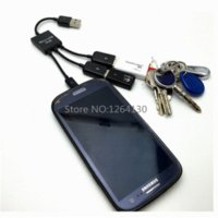 Wholesale Hub Galaxy S3 - NEW USB 2.0 2 Port HUB with Micro USB Cable Charge for Samsung Galaxy S3 S4 S5 Smartphone and Computer