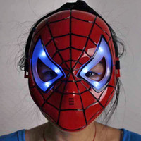 Wholesale Make Spiderman Mask - 5 PCS RetailLED Shiny Spiderman Spider Man Mask Eyes Halloween Christmas Masquerade Mask Cosplay Make up Toy red adult chirldren