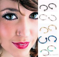 Wholesale Silver Nose Hoops - New Nose Rings Body Piercing Jewelry Fashion Jewelry Stainless Steel Nose Hoop Ring Earring Studs Fake Nose Rings Non Piercing Rings 2937