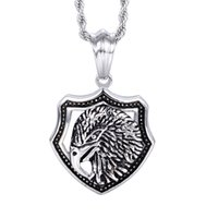 """Wholesale Dogtag Pendant - Brand New Casting Jewelry Men's Gothic design Stainless steel Biker eagle Head Dogtag Pendant Casting Necklace 4mm 22"""""""