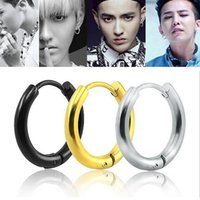 6Pcs / Lot Or / Argent / Noir Acier inoxydable Nose Ring Goth Punk Lip Ear Clip On Fake Piercing Hoop Rings Earrings