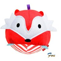 Wholesale Vintage Baby Dolls - Wholesale-Free Shipping fox toy 2016 New Arrival Baby Toy Cute Vintage Baby Farm Animal Ball shaped Stuffed Soft Toy Doll Rattle Gift