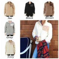 Wholesale Wholesale Sweater Hoodie - Sherpa Pullover Women Winter Fall Fleece Hoodie Sweatshirt Oversized Half Button Sweaters 5 Colors 50pcs OOA3493