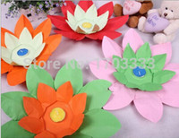 Wholesale Lotus Paper Flower Lamp - HOT SELL Paper Flower Lotus Wish Lantern Water Floating Candle Light Yellow Wishing Lamp lotus lamps