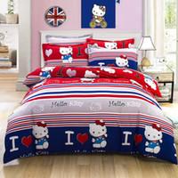 Wholesale Hello Set - 2016 new style Hello Kitty Luxury bedding set bedclothes sets Plant cashmere bed sheet   duvet cover   pillowcase 4pcs  set Home textile