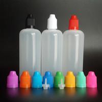 plastikflaschen für e saft großhandel-120ml LDPE E Saftflasche 120ml leere Plastik-Tropfflasche mit bunter kindersicherer Kappe und langen feinen Spitzen