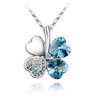 Wholesale Clover Leaf Necklace Jewelry - Fashion 925 silver Amethyst Austrian Crystal Four Leaf Leaves Clover heart rhinestones necklace pendant jewelry