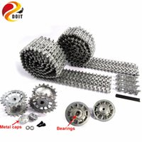 Wholesale Tiger Tank Rc 16 - Wholesale- DOIT Metal Silver Tracks sprockets early with metal caps idler wheels with bearings for Heng Long 3818 1 16 RC Tiger 1 tank