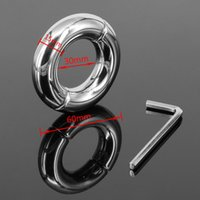 Wholesale Chastity Metal Ball - Inner Diameter 30mm Stainless Steel Scrotum Ring Metal Locking Cock Ring Ball Stretchers Penis Ring For Men Scrotum Stretcher Restraint