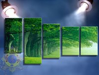 Wholesale Picture Blocks - Chinese Writing Cloth 5 Block Wall Panel Green Woods Photo Art of The Sitting Room Decorate Household Adornment Mural Printing On Canvas