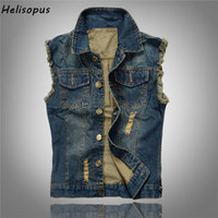 Wholesale Male Jeans Korean New - 2018 Korean Spring New Style Men's Jeans Hollow out Hole Vest Denim Jacket Slim Fit Sleeveless Hip hop Jeans Male Coat