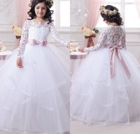 Wholesale Shirt Long Dress Girl - Long Sleeve First Communion Dress for Girls 2016 Lace Ball Gown Flower Girl Dresses White Cheap Wedding Party Pageant Gowns