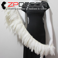 Wholesale String Wedding Dresses - Superior Exporting ZPDECOR Factory 6-8 inch Amazing Quality Bleached White Rooster Strung Feather for Wedding Dress