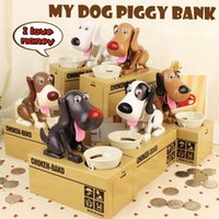 Wholesale cute money boxes - Cute Choken Greedy Dog Model Piggy Bank Money Save Pot Coin Creative Storage Catoon Puppy Hungry Robotic Dog Money Box OOA2525