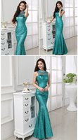 Wholesale Plus Size Black Tie Gowns - 2016 new high-set tie formal Mermaid Evening Dresses Sequin lace floor length lace Prom Dress sexy body beauty Evening Gown plus size