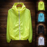 Wholesale cheap hoodie jackets - Cheap Plaid Jacket Men Women Summer Thin Zip Hoodie Jackets Fashion Running Jogging Climbing Outwear Coat Varsity Hoodies RFG0904