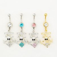 Wholesale Skull Jewelry Girls - D0546 MIX colors styl belly ring belly ring style skull style Rings Body Piercing Jewelry Dangle Accessories Fashion Charm 10PCS