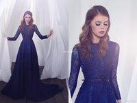 vestido árabe de murganha de zuhair venda por atacado-Zuhair Murad Azul Royal Líbano Rendas Manga Longa Vestidos de Noite 2020 Dubai Árabe Hijab Muçulmano Baratos Prom Vestidos
