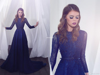 Wholesale Cheap Hijab - Zuhair Murad Royal Blue Lebanon Lace Pearls Long Sleeve Evening Dresses with Belt 2016 Dubai Arabic Hijab Muslim Cheap Occasion Prom Gowns