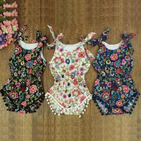 Wholesale floral bubble romper resale online - 14 Styles baby clothes Baby girls Floral Striped Bubble Romper petti romper baby birthday outfit Pom Baby Toddler Romper