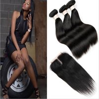 Wholesale fedex machine - Brazilian Straight Hair Bundles with Closure Free Middle 3 Part Double Weft Human Hair Extensions Dyeable Human Hair Weave FEDEX Shipping
