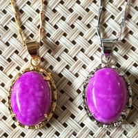 Wholesale Jade Purple Circle Pendant - Free Shipping Purple Jadeite circular pendant China traditional Natural Myanmar Jade plated and silvering Pendants for women