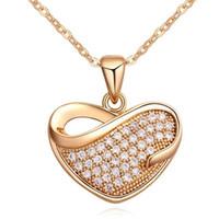 Wholesale Diamond Short Chain Necklace - Cubic Zirconia Short Necklaces Heart Pendants Gold Plated CZ Diamond Necklace Pendants Fashion Jewelry For Women 16446