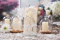 Wholesale Three Fold Wedding Invitations - White custom personalized Wishmade laser cut three folded wedding invitation CW5093 with envelopes, seals, personalized printing