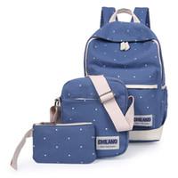 Wholesale Korean Set Phone - 3Pcs Sets Korean Casual Women Backpacks Canvas Book Bags Preppy Style School Back Bags for Teenage Girls Composite Bag mochila