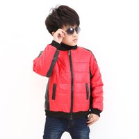 Wholesale Child Thickened Leather Jacket - 2016 Child leather clothing small kid's casual Down boys jacket black and white cotton-padded thickening boy casual jacket